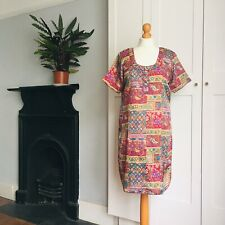 Vintage 70s Red Purple Yellow Blue Grey Tapestry Print Hippy Tunic Dress 12 14
