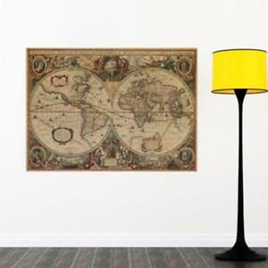 Retro Vintage Globe Old World Map Matte Creative Paper Poster Home Decor KS