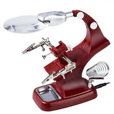 Helping Hand Clip LED Magnifying Soldering Iron Jewelry Stand Lens Magnifier Red