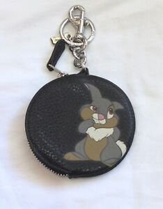 Coach X Disney Thumper Zip Coin Pouch Purse with keyring Keychain NWT
