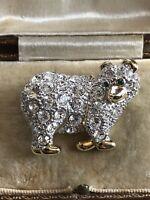 Vintage Gold Tone Swarovski Crystal Bear Brooch