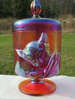 Fenton Chessie Cat Candy Jar Red Amberina Iridized Glass 1991  Mint**