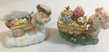 Dreamsicles Heavenly Flowers 1998 Cast Art Lot Of 2 Flower Cart Trinket Box