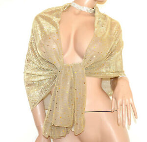 STOLA ORO donna coprispalle dorato maxi foulard scialle sciarpa elegante G90