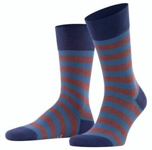 Falke Mens Sensitive Mapped Line Socks - Lapis Blue/Brown