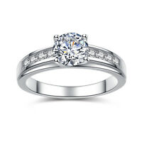 Real 925 Sterling Silver Solitaire 1.50 Ct Round Cubic Zirconia Engagement Ring