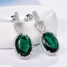 Stunning Large Green Emerald Crystal White Gold Filled Dangle Earrings For Women