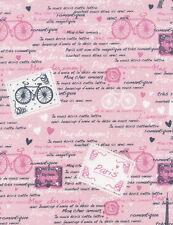 Fabric Paris Words Bike on Pink Cotton by the 1/4 yard BIN