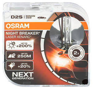 2x Osram Laser D2S Night Breaker Bulbs Xenarc Xenon Headlight 66240XNL-HCB