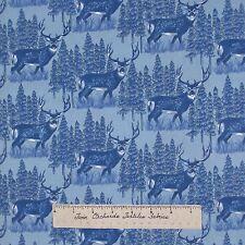 """Riverwoods Fabric - Buck Deer Scene Blue - Woods Water Wildlife Cotton 33"""""""