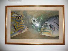 MARTHA RYTHER poissons en peinture sur verre encadré