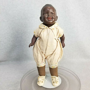 """15"""" rare antique composition & cloth Black Madame Hendren character baby doll"""