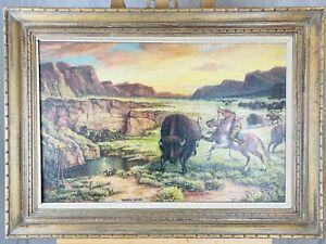 WILLIAM E. SHEPHERD Antique Western Nebraska Native American Hunt Oil on Canvas