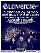 ELUVEITIE/ 3 INCHES OF BLOOD 2011 PORTLAND CONCERT TOUR POSTER-Swiss Metal Music