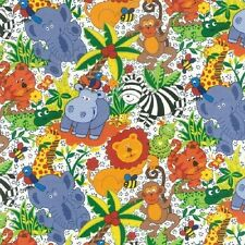 Fat Quarter Jungle Jive Animals Scatter Cotton Quilting Fabric Nutex 88820 102