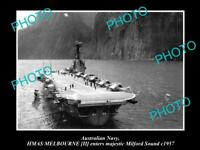 OLD LARGE HISTORIC PHOTO OF AUSTRALIAN NAVY SHIP HMAS MELBOURNE c1957 IN NZ