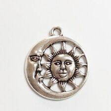 20pcs-Celestial Charms Silver Sun Moon and Star charm pendant 27x25mm