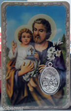 Carte médaille image pieuse plastifiée St Joseph 8,5 cm x 5,4 cm