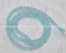 Natural 4mm Brazilian Light Blue Aquamarine Gemstone Round Loose Beads 15''