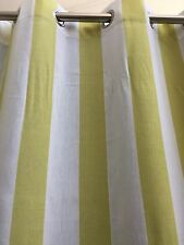 MONTEGO Striped Eyelet Curtains -140 cm x 221 cm Drop -Chartreuse -Beach Look
