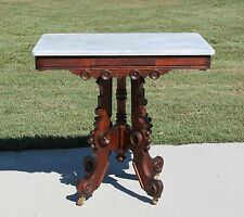Victorian Walnut & Burl Marble Top Parlor Center Lamp Table c1875