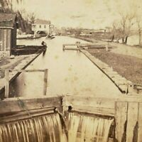 Pennsylvania Second Lock Above Reading Union Canal Tunnel 1880s Photo Stereoview