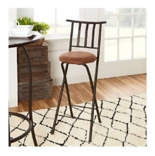 Bar Stool 30' Slat Back Folding Bronze Metal Padded Seat Microfiber Cushion NEW