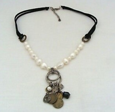 Silpada Suede & Sterling Silver, Pearl, Obsidian & Brass Coin Necklace N1947