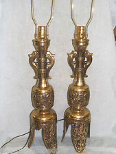 Vintage Hollywood Regency Tall Table Lamps Tri Footed Base Greek Key Elephant
