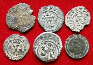 LOT 6 DATED PIRATE TREASURE COBS SPANISH MARAVEDIS COLONIAL OLD COINS