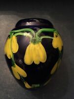 Signed - Art Glass Vase Cobalt Blue Yellow Vine Flowers HEAVY - Hand Blown '88