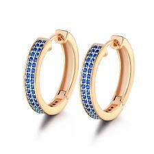 Modish Ladies 18K Multi-Tone Gold Filled Tanzanite Topaz Huggies Earrings Party