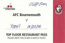 Ticket - Bournemouth v Yeovil Town 18.03.06 Restaurant Pass