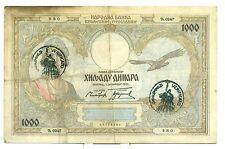 KINGDOM OF YUGOSLAVIA National Bank 1931 1.000 DINARA