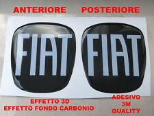 KIT ADESIVO 3D STICKERS LOGO FIAT 500 X BAULE ANTERIORE + POSTERIORE CARBONIO