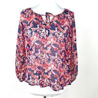 Joie Women's Rochan Floral Print Silk Long Sleeve Blouse Red Blue X-Small XS