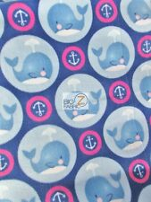 ANIMAL PRINT POLAR FLEECE FABRIC - Baby Anchor Whales Fuchsia/Blue - BTY 909