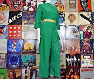 Vintage 60s 70s Perma Prest Sears At Home Wear Green Velour Jumpsuit Size 12