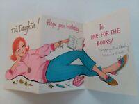 Vtg DAUGHTER Birthday GIRL w Gold GLITTER Jewelry Rust Craft GREETING CARD