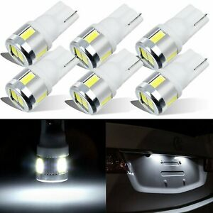 6x T10 194 168 6000K White LED Interior License Trunk Light Bulbs Super Bright