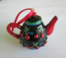 "Mary Engelbreit Me Ink Teapot Ornament 2""h Black Teapot w/ Cherries - No Box"
