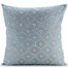 Designer Light Blue 18x18 inch Throw Pillowcase, Art Silk - French Nautical
