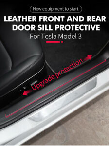 For Tesla Model 3 Car Leather Front Rear Door Sill Protector Sticker 4PCS
