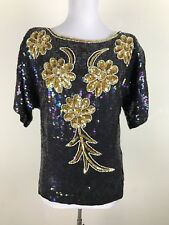 Vintage 1980s Blouse Size S M Gold Pearl Black Rainbow Sequence Trophy Floral