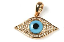 Evil Eye Pendant with Diamond in 14k Rose,Yellow or White Gold ( Dia  0.18cts )