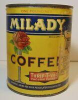 Vintage 1930s MILADY ROSE GRAPHIC COFFEE TIN 1 POUND FREMONT NE LINCOLN NEBRASKA