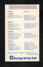 Syracuse Chiefs--1979 Pocket Schedule--Onondaga Savings Bank-Blue Jays Affiliate