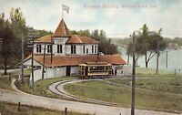 Postcard Entrance Building Trolley in Winona Lake, Indiana~126603
