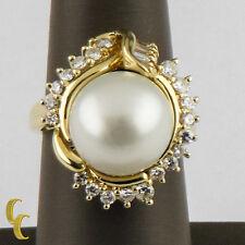 18ct Oro Amarillo Anillo con SUR Mar Perla solitario y 1,4ct Diamantes size 8.5