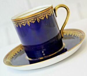 Collingwood Cobalt Blue Gold Trim Demitasse Cup Saucer England Bone China #6077